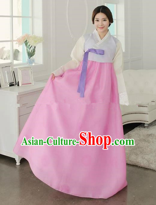 Top Grade Korean Traditional Hanbok Ancient Fashion Apparel Costumes Palace Lilac Blouse and Pink Dress for Women