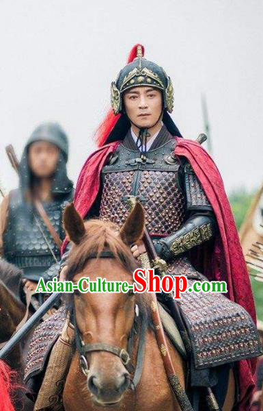 Traditional Chinese Ancient Ming Dynasty Militarist General Li Dingguo Costume Helmet and Armour for Men