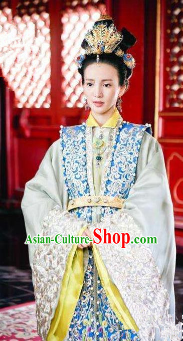 Chinese Ancient Ming Dynasty Imperial Empress Jing Embroidered Dress Costume for Women