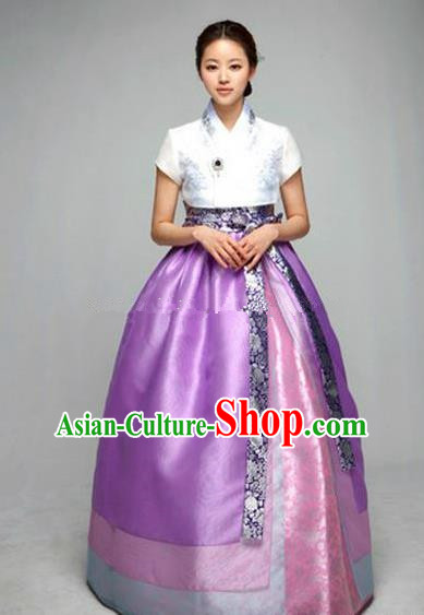 Top Grade Korean Hanbok Ancient Traditional Fashion Apparel Costumes White Blouse and Purple Dress for Women