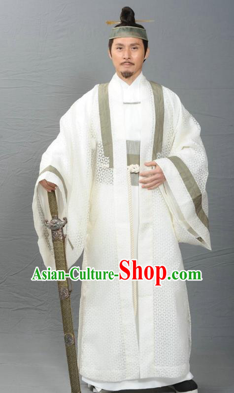 Ancient Chinese Ming Dynasty Swordsman Taoist Priest Costume for Men