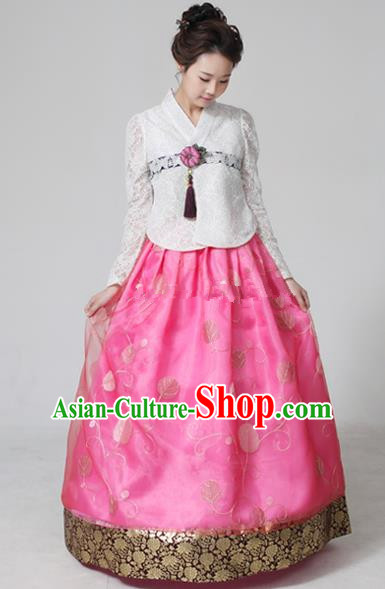 Top Grade Korean Hanbok Ancient Traditional Fashion Apparel Costumes White Lace Blouse and Pink Dress for Women