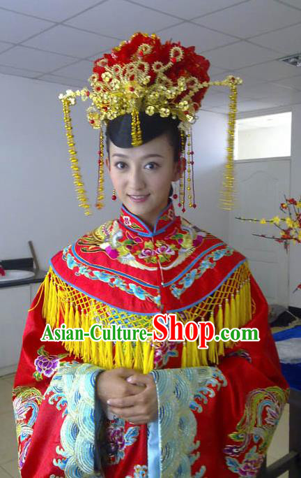 Ancient Chinese Ming Dynasty Wedding Embroidered Dress Costume and Headpiece Complete Set