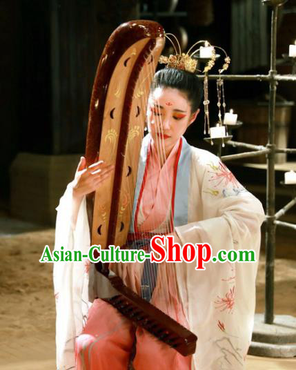 Ancient Chinese Jin Dynasty Palace Princess Embroidered Dress Historical Costume for Women