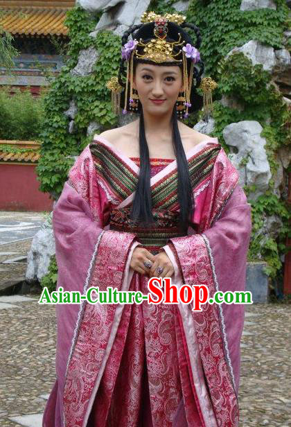 Ancient Chinese Ming Dynasty Empress Tailing Embroidered Historical Costume and Headpiece Complete Set for Women
