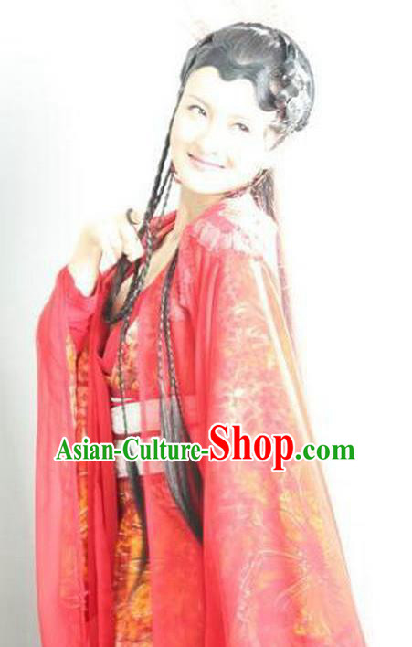 Chinese Ancient Ming Dynasty Dance Red Dress Fairy Embroidered Historical Costume for Women