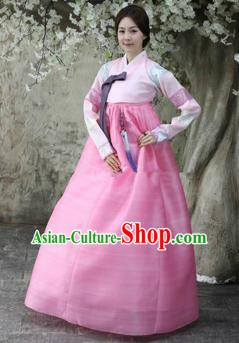 Top Grade Korean Hanbok Ancient Traditional Fashion Apparel Costumes Pink Blouse and Dress for Women