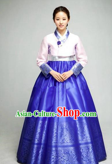 Top Grade Korean Hanbok Ancient Traditional Fashion Apparel Costumes Pink Blouse and Blue Dress for Women