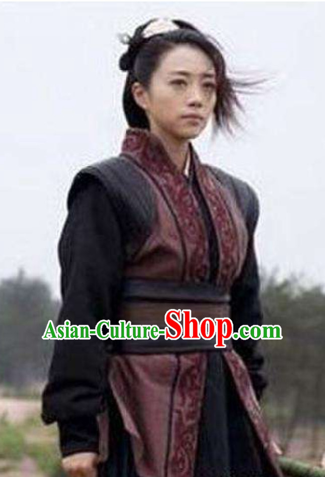 Chinese Ancient Swordsman Swordswoman Outfits Superheroine Costumes Complete Set for Women