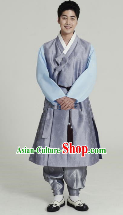 Traditional Korean Costumes Ancient Korean Male Hanbok Bridegroom Costume Lilac Vest and Grey Pants for Men