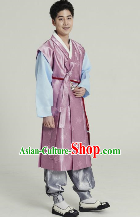 Traditional Korean Costumes Ancient Korean Male Hanbok Bridegroom Costume Pink Vest and Grey Pants for Men