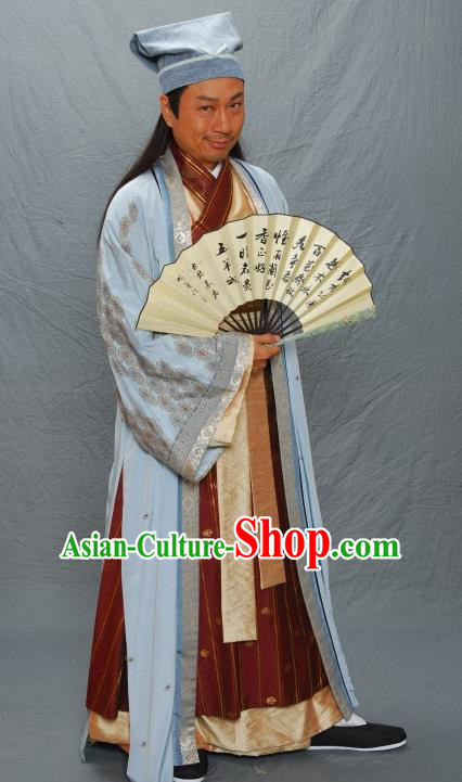 Chinese Ancient Ming Dynasty Litterateur and Calligrapher Zhu ZhiShan Costume for Men