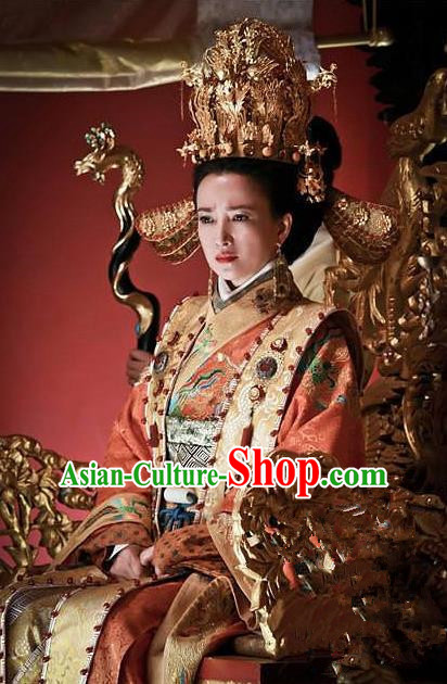 Ancient Chinese Ming Dynasty Empress Dowager Xiaogongzhang Embroidered Dress Costume and Headpiece Complete Set