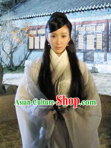 Chinese Ancient Song Dynasty Palace Imperial Consort Pang of Zhao Zhen Grey Dress Replica Costume for Women