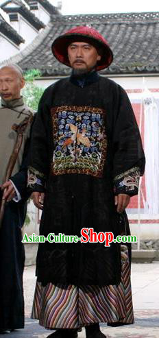 Chinese Ancient Qing Dynasty Minister Replica Costume Palatial Robe for Men
