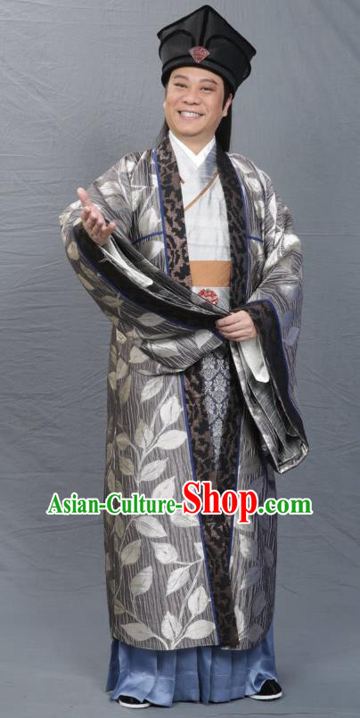 Chinese Song Dynasty Poet Su Tungpo Clothing Ancient Scholar Litterateur Replica Costume for Men