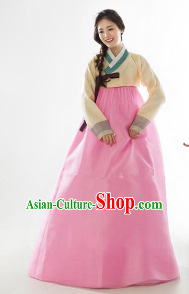 Korean Traditional Bride Tang Garment Hanbok Formal Occasions Yellow Blouse and Pink Dress Ancient Costumes for Women