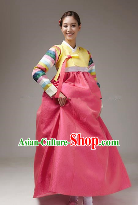 Korean Traditional Bride Tang Garment Hanbok Formal Occasions Yellow Blouse and Rosy Dress Ancient Costumes for Women