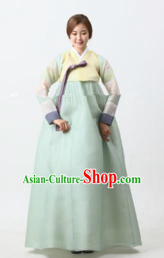 Korean Traditional Bride Tang Garment Hanbok Formal Occasions Yellow Blouse and Green Dress Ancient Costumes for Women