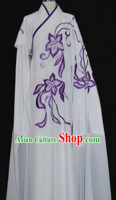 China Traditional Beijing Opera Costume Gifted Scholar White Robe Chinese Peking Opera Clothing