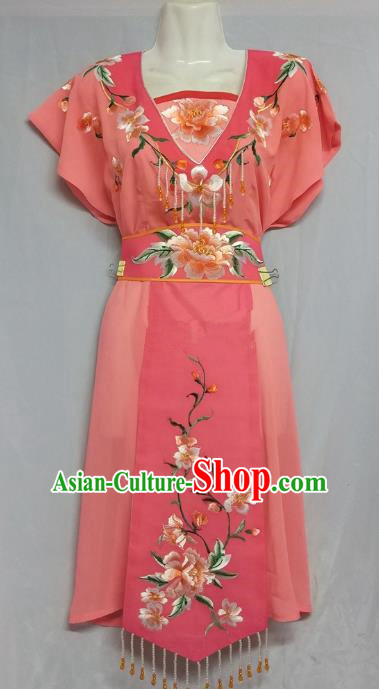 China Traditional Beijing Opera Maidservants Costume Chinese Peking Opera Maid Watermelon Red Dress