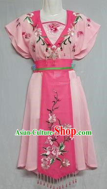 China Traditional Beijing Opera Maidservants Costume Chinese Peking Opera Maid Light Pink Dress