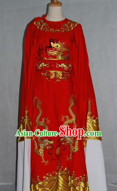 China Traditional Beijing Opera Niche Red Dragon Robe Chinese Peking Opera Number One Scholar Scholar Costume