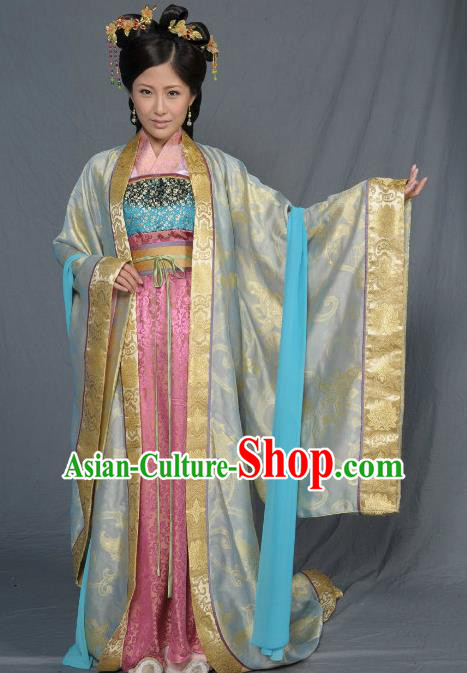 Chinese Song Dynasty Queen Embroidered Mullet Dress Ancient Empress of Zhao Yun Replica Costume for Women