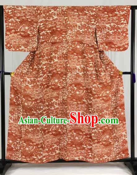 Asian Japan Palace Printing Orange Furisode Kimono Ancient Yukata Dress Formal Costume for Women
