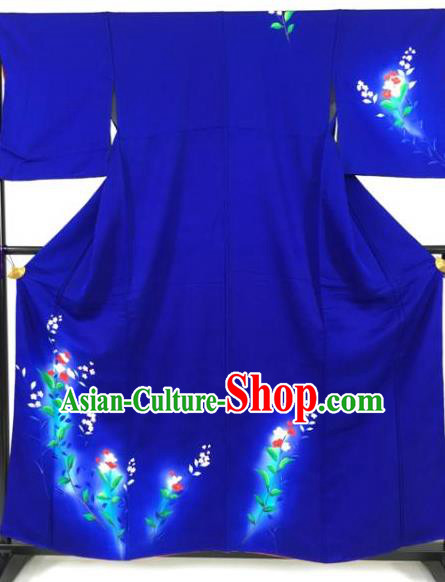 Asian Japan Palace Printing Flowers Blue Furisode Kimono Ancient Yukata Dress Formal Costume for Women
