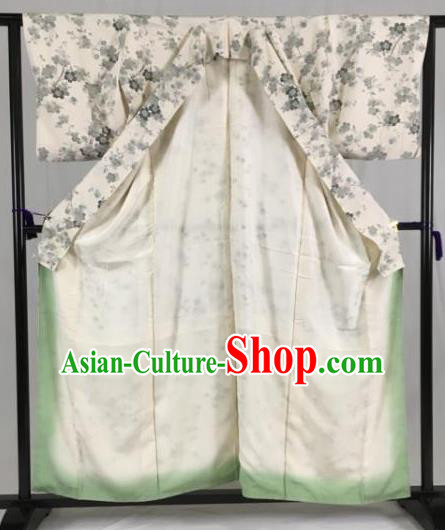 Japan Traditional Kimono Grey Furisode Kimono Ancient Yukata Dress Formal Costume for Women
