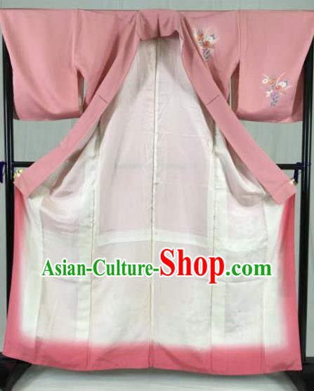 Japan Traditional Kimono Pink Furisode Kimono Ancient Yukata Dress Formal Costume for Women