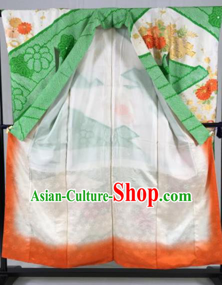 Japan Traditional Kimono Green Furisode Kimono Ancient Yukata Dress Formal Costume for Women
