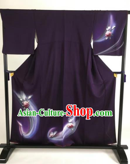 Japan Traditional Kimono Purple Furisode Kimono Ancient Yukata Dress Formal Costume for Women