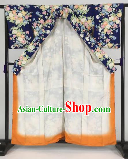 Japan Traditional Kimono Printing Blue Furisode Kimono Ancient Yukata Dress Formal Costume for Women
