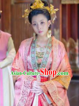 Chinese Song Dynasty Empress of Zhao Kuangyin Embroidered Dress Ancient Palace Queen Replica Costume for Women