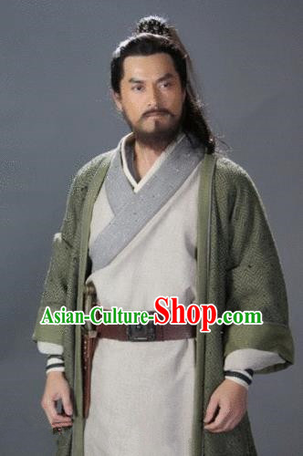 Chinese Ancient Novel Water Margin Character Costume Song Dynasty Mount Liang Castellan Chao Gai Replica Costume