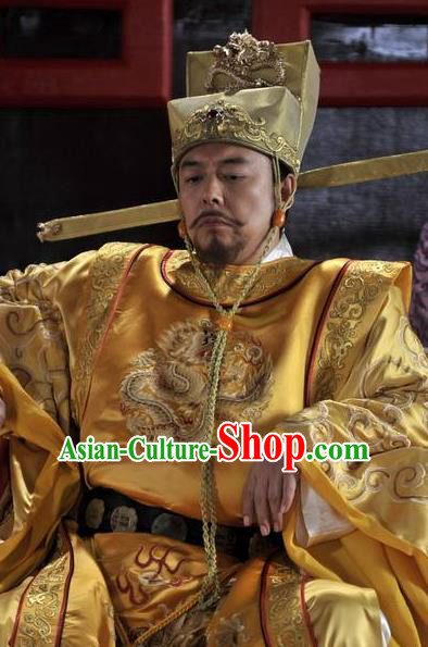 Chinese Ancient Song Dynasty Zhen Emperor Zhao Heng Imperial Robe Replica Costume for Men
