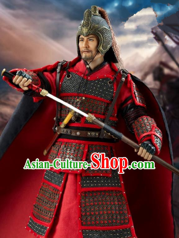 Ancient Chinese Song Dynasty General Yueh Fei Replica Costume Helmet and Armour for Men