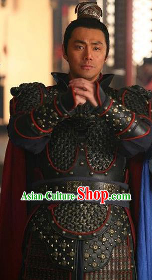 Chinese Ancient Song Dynasty General Han Shizhong Replica Costume Helmet and Armour for Men
