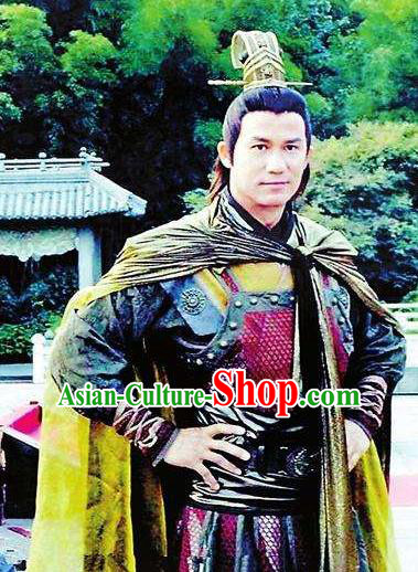 Chinese Ancient Jin Dynasty General Wanyan Zongbi Replica Costume Helmet and Armour for Men