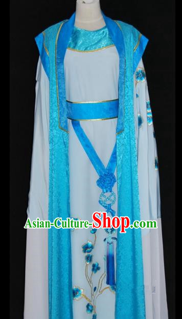 China Traditional Beijing Opera Niche Blue Robe Chinese Peking Opera Scholar Costume