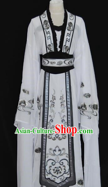 China Traditional Beijing Opera Actress Costume Chinese Shaoxing Opera Huadan Embroidered White Dress