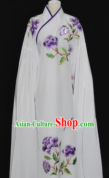 China Traditional Beijing Opera Niche Embroidered Purple Peony Robe Chinese Peking Opera Scholar Costume