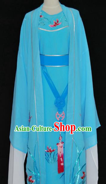 China Traditional Beijing Opera Niche Embroidered Orchid Costume Chinese Peking Opera Scholar Light Blue Robe for Adults