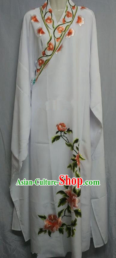 China Traditional Beijing Opera Scholar Embroidered Peony Costume White Robe Chinese Peking Opera Niche Clothing for Adults