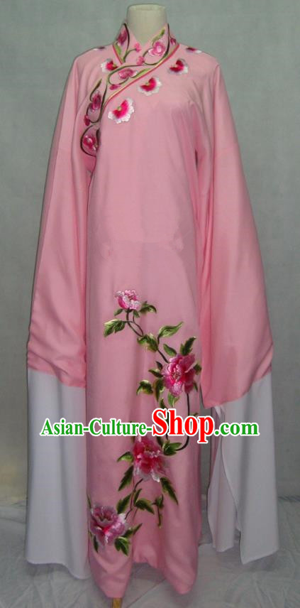 China Traditional Beijing Opera Scholar Embroidered Peony Costume Pink Robe Chinese Peking Opera Niche Clothing for Adults