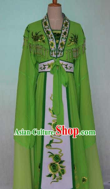 China Traditional Beijing Opera Embroidered Green Dress Chinese Peking Opera Actress Costume