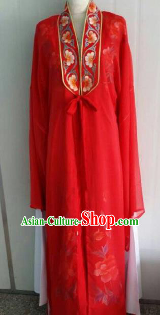 China Traditional Beijing Opera Embroidered Red Robe Chinese Peking Opera Scholar Wedding Costume for Adults