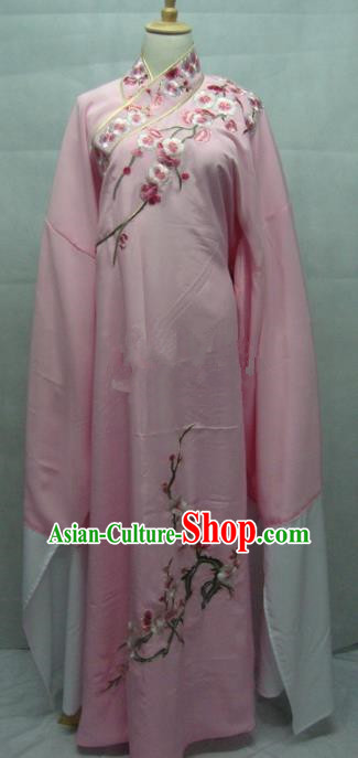 China Beijing Opera Embroidered Plum Blossom Pink Robe Chinese Traditional Peking Opera Scholar Costume for Adults